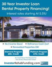 600+ Credit - 30 Year Rental Property Financing – Refinance Cash Out U